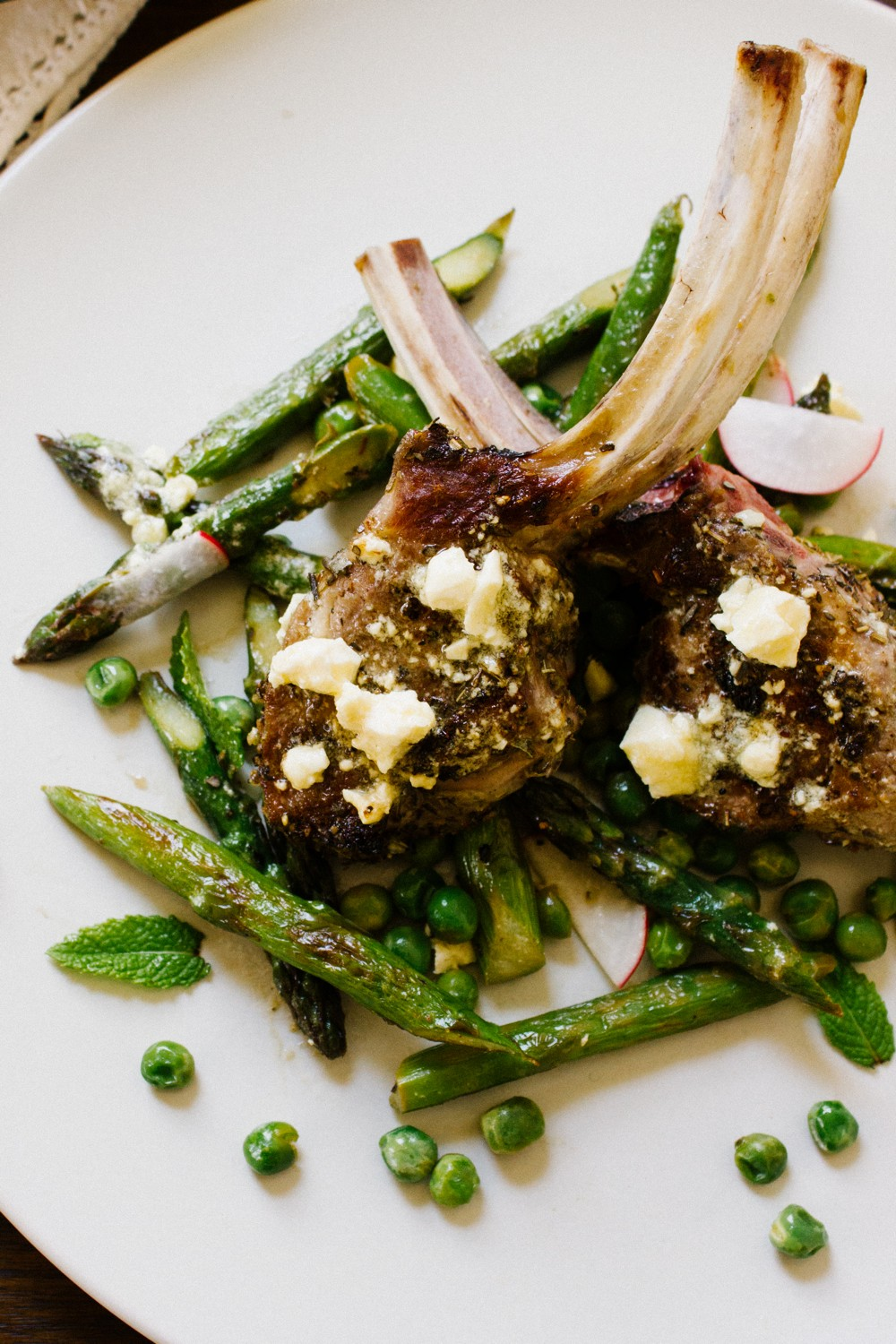 Lamb with Warm Feta Vinaigrette and Spring Vegetables