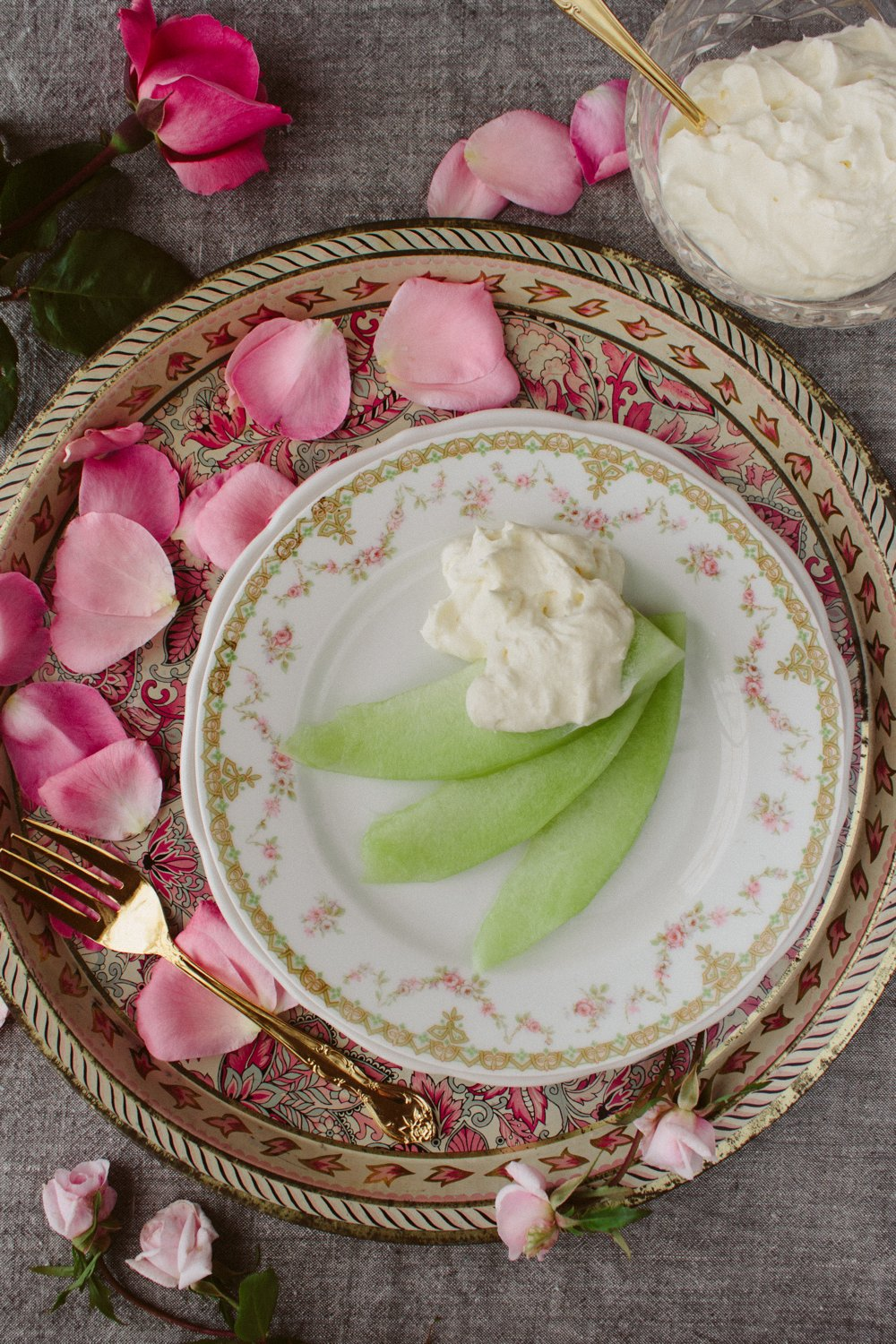 Honeydew with Rosewater and Honey Cream