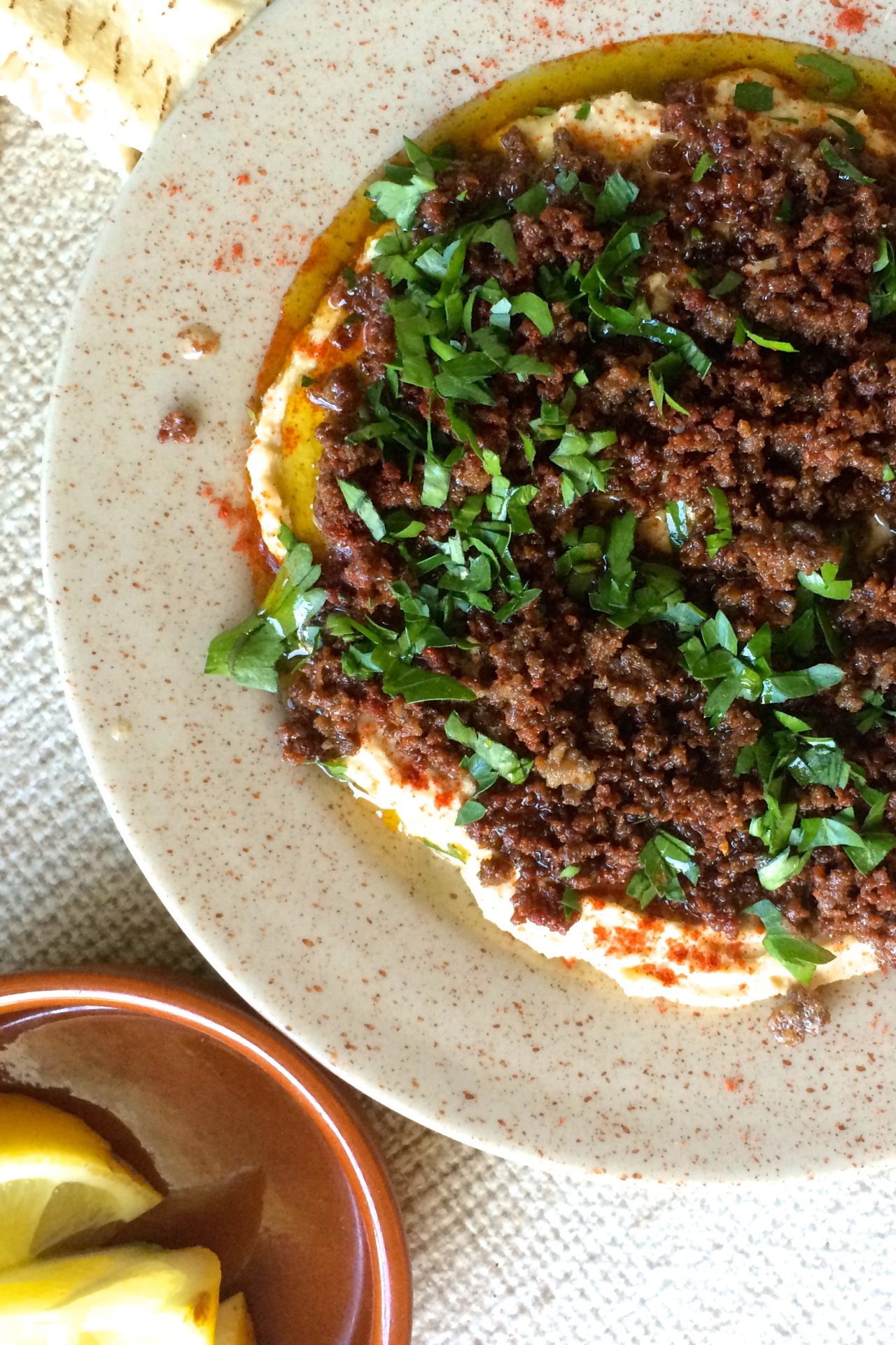 Spiced lamb mince with hummus