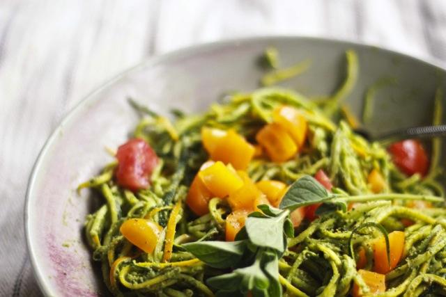 Raw Zucchini Pasta with Lemony Oregano Pesto