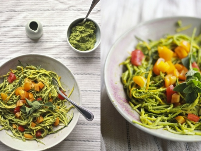 Raw Zucchini Pasta with Lemony Oregano Pesto