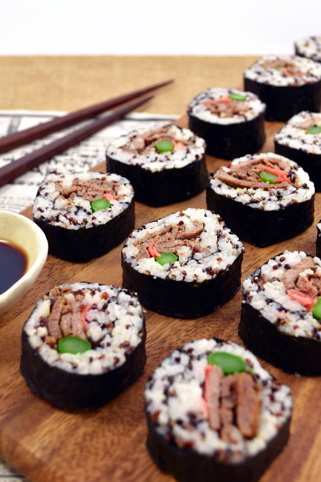 Beef and Asparagus Sushi Rolls