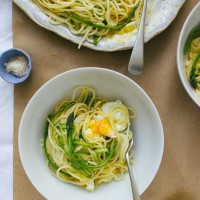 Asparagus Pasta with Poached Egg